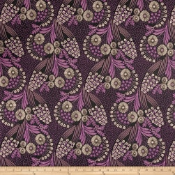 French Designer Jacquard Floral Purple/Bronze Fabric