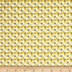 QT Fabrics Peanuts Good Friends Check Yellow Fabric