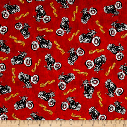 Biker For Life Motorcycle Toss Red Fabric