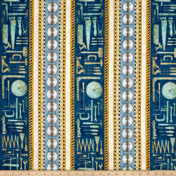 Craftsman Tools Decorative Stripe Denim Fabric