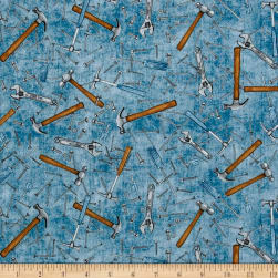 QT Fabrics Craftsman Hammers & Nails Denim Fabric