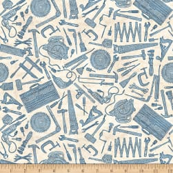 Craftsman Tool Toile Cream Fabric