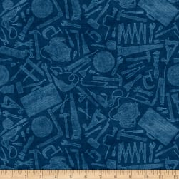 Craftsman Tool Toile Dark Denim Fabric
