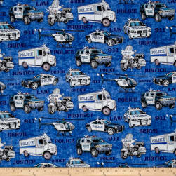QT Fabrics Protect & Serve Police Vehicles Blue