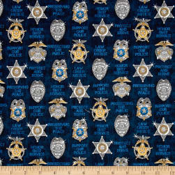 QT Fabrics Protect & Serve Shields Navy Fabric
