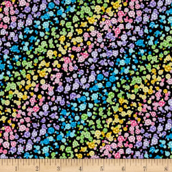 Fanfare Ombre Flowers Black Fabric