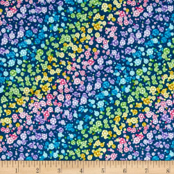 Fanfare Ombre Flowers Dark Teal Fabric
