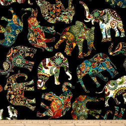 Caravan Paisley Elephants Black