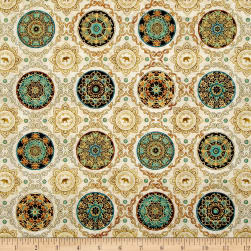 Caravan Scroll & Medallions Natural Fabric