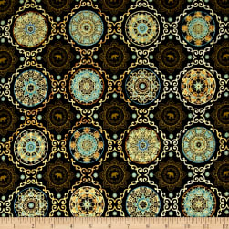 Caravan Scroll & Medallions Black Fabric