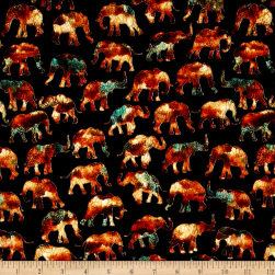 Caravan Small Elephants Black Fabric