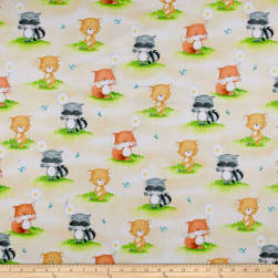 Hangin' Out One Way Animals Light Chamois Fabric