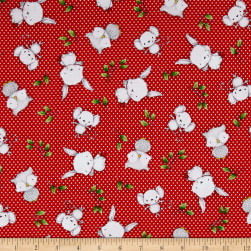 QT Fabrics Hangin' Out Animal Toss Red Fabric