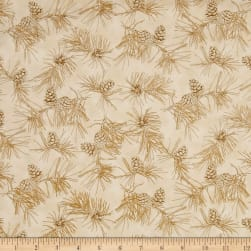 By Water's Edge Pinecone Toile Tan Fabric
