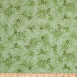 By Water's Edge Pinecone Toile Light Green Fabric