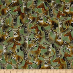 In The Woods Packed Deer Green Fabric
