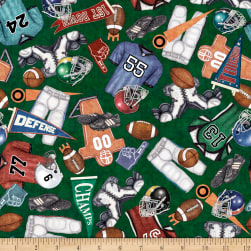 QT Fabrics Gridiron Everything Football Green Fabric
