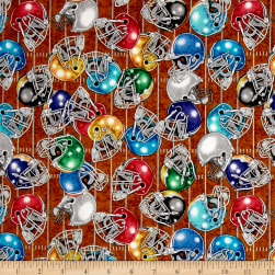 QT Fabrics Gridiron Football Helmets Brown Fabric