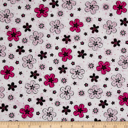 En Vogue Tossed Flower White Fabric