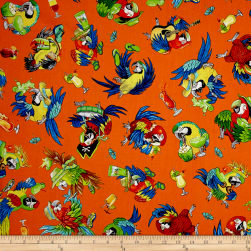 QT Fabrics Margaritaville Parrots Orange Fabric