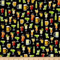 QT Fabrics Margaritaville Cocktails Black Fabric