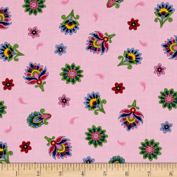 Imperial Paisley Tossed Flower Light Pink Fabric
