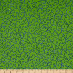 Imperial Paisley Scroll Lime Fabric