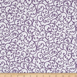 QT Fabrics Imperial Paisley Scroll White/Purple Fabric