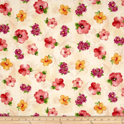 QT Fabrics Sophia Spaced Floral Cream