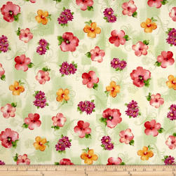 Sophia Spaced Floral Light Green Fabric