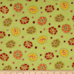 Ink & Arrow Willow Tossed Flowers Olive Fabric