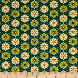 Ink & Arrow Willow Set Flowers Teal Fabric