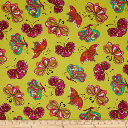 Ink & Arrow Paloma Butterflies Lime Fabric
