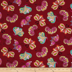 Ink & Arrow Paloma Butterflies Cranberry Fabric