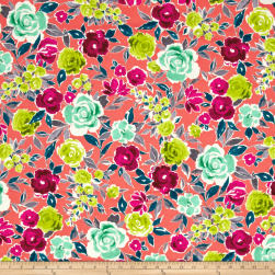 Ink & Arrow Zola Large Floral Coral Fabric