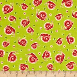 Ink & Arrow Zola Snails Light Avocado Fabric