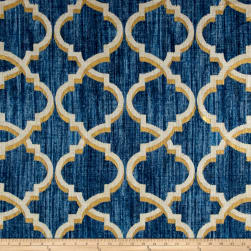 Waverly Lustrous Lattice Linen Blend Indigo Fabric
