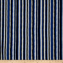 Bubble Crepe Stripe White/Blue/Black Fabric
