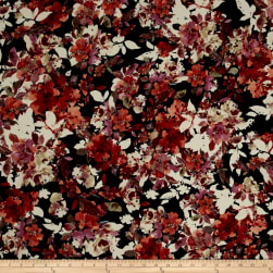 Bubble Crepe Floral Midnight/Granite Fabric