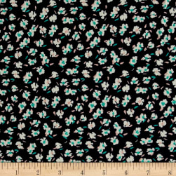 Bubble Crepe Allover Floral Navy/Lucite Fabric