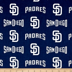 San Diego Padres Cotton Broadcloth Navy Fabric