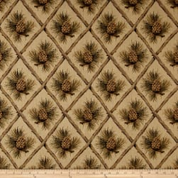 Lattice Pine Cone Jacquard Beige Fabric