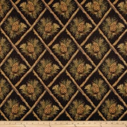 Lattice Pine Cone Jacquard Black Fabric