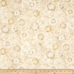 Earthtones 2 Circle Dot Metallic Cream Fabric