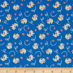 Toy Box Miniatures Kitties Dark Blue Fabric