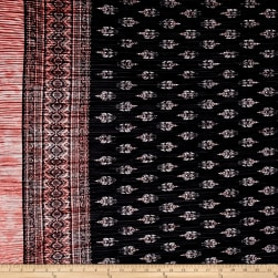 Pleated Bodre Knit Border Print Medallion Black/Rose Fabric