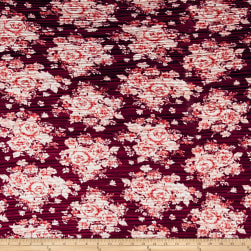 Pleated Bodre Knit Floral Oxblood Blush Fabric