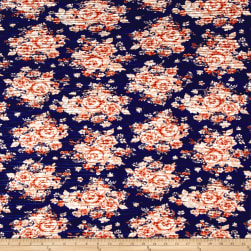 Pleated Knit Floral Royal Navy/Terracotta Fabric