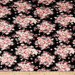 Pleated Bodre Knit Floral Black Rose Quartz Fabric