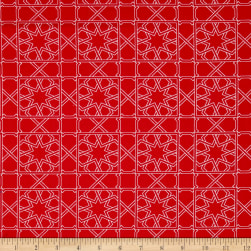 Finespun Tesserae Red Fabric